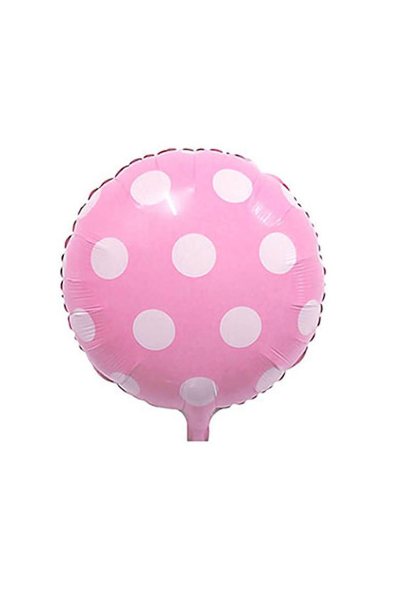 Pembe Puantiyeli Folyo Balon 43cm 2li