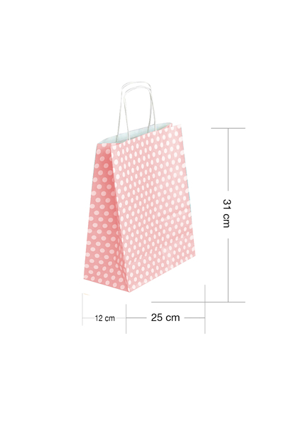 Roll-Up Kraft Çanta Pembe Puantiyeli Orta Boy 25x31cm 25li