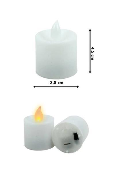 Pilli Işıklı Beyaz Led Mum 3,5x4cm 1 Adet