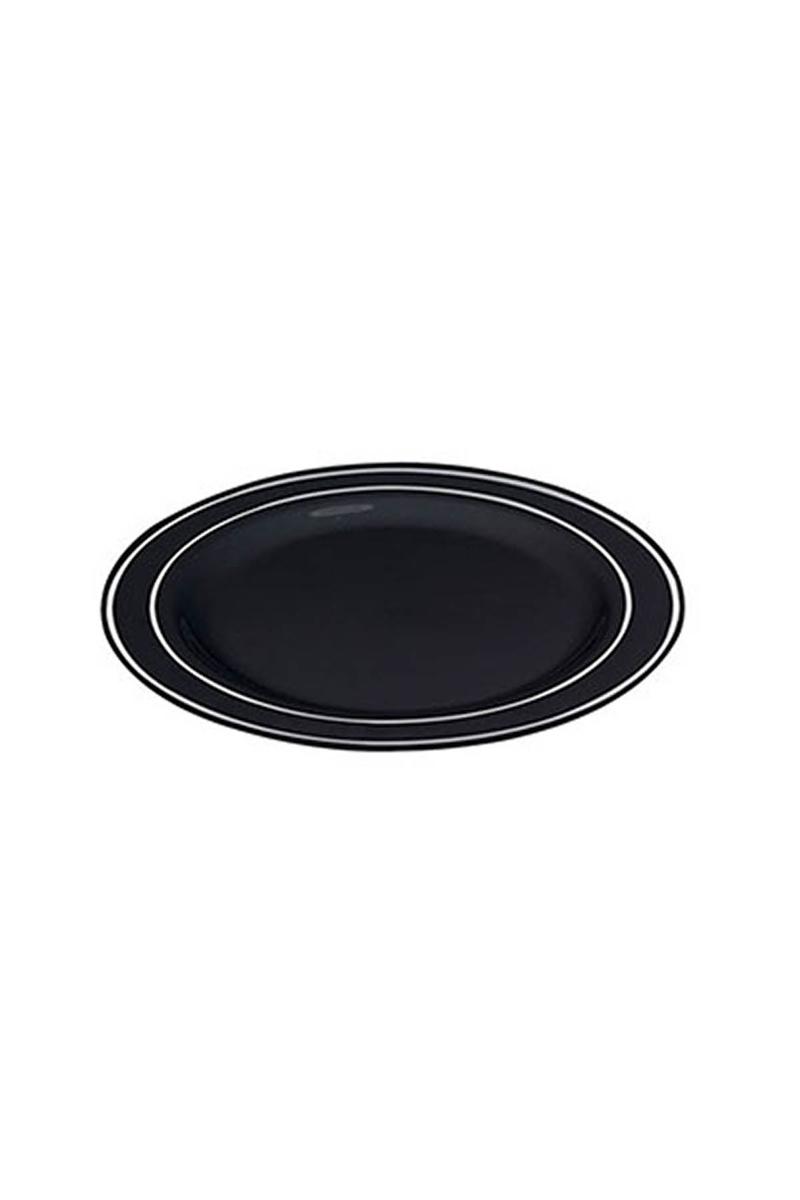 Porselen Görünümlü Siyah Silver Plastik Tabak 19cm