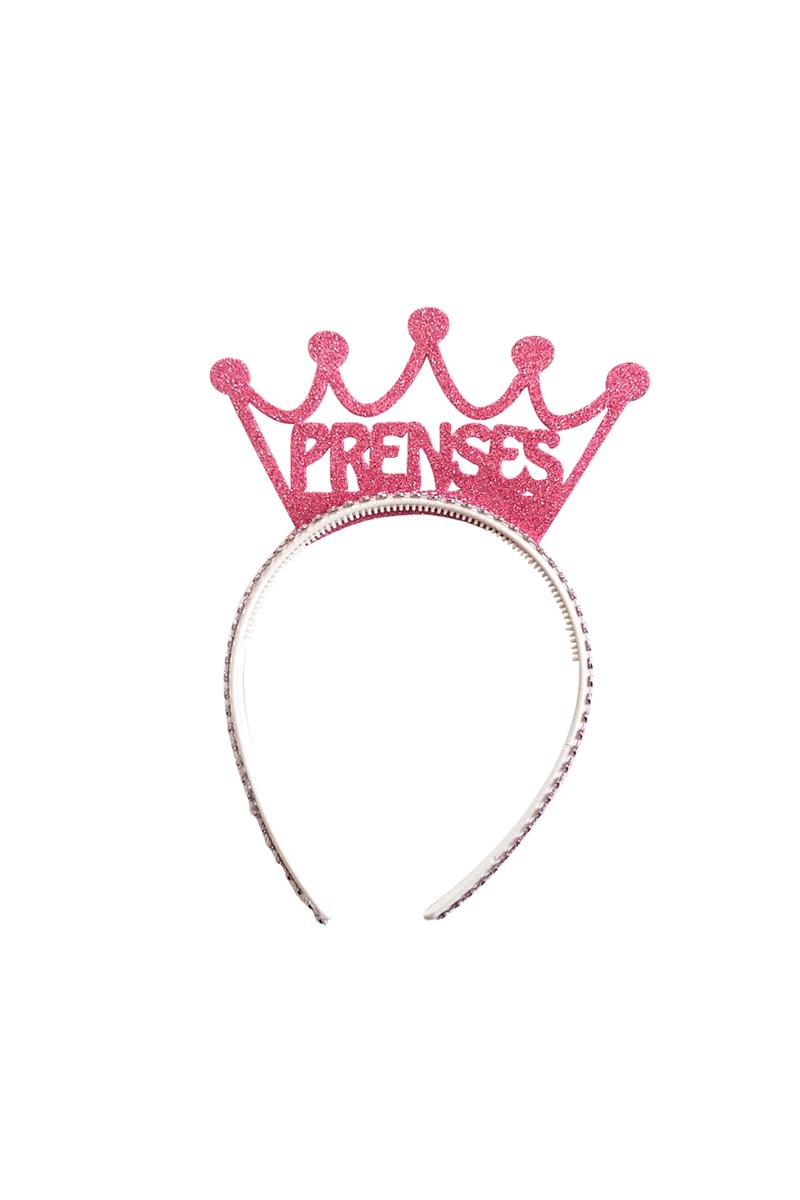 Prenses Tacı Simli Eva Taç Pembe 1 Adet