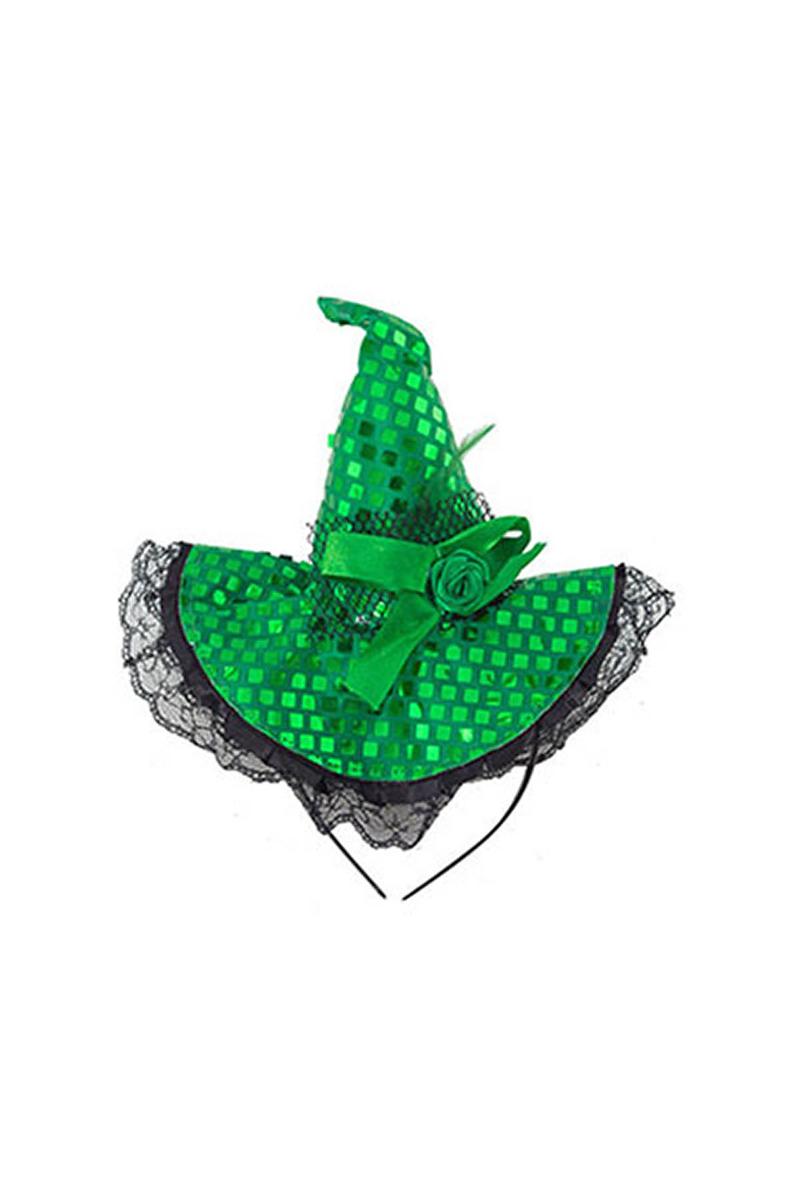 Pullu Hallowen Şapkalı Taç Yeşil 1 Adet