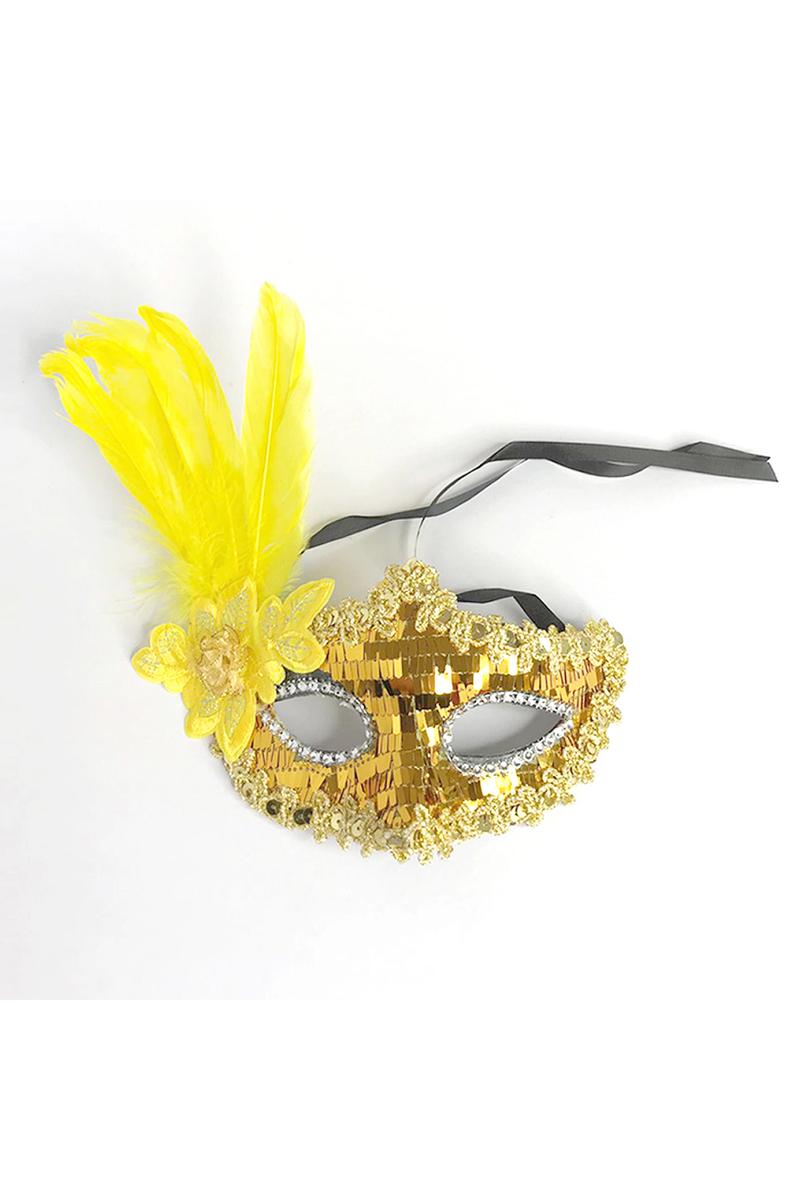 Pullu Tüylü Balo Maske Altın 1 Adet