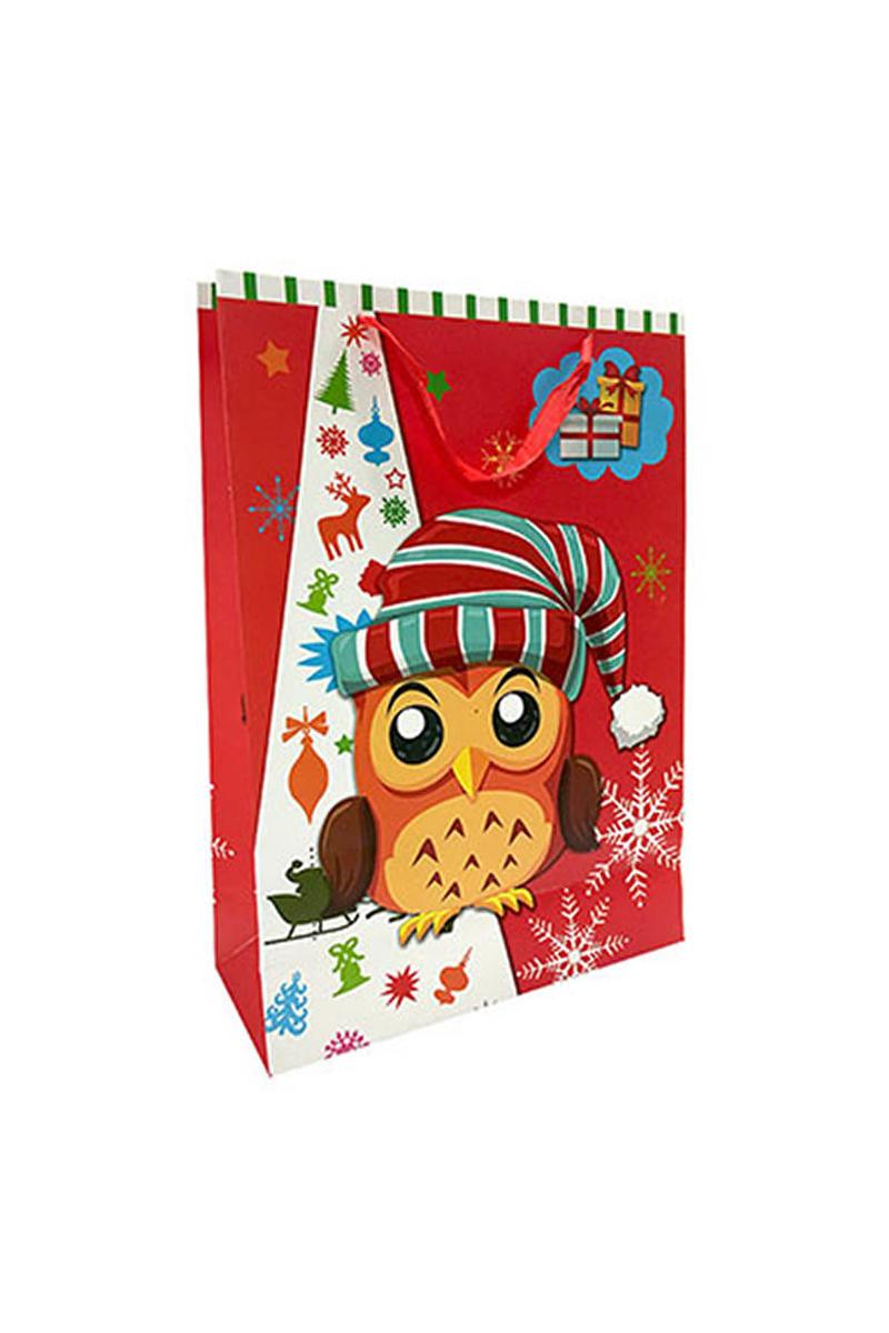 Renkli Baykuşlar Hediyelik Çanta 30cmx42cm 1 Adet - Thumbnail
