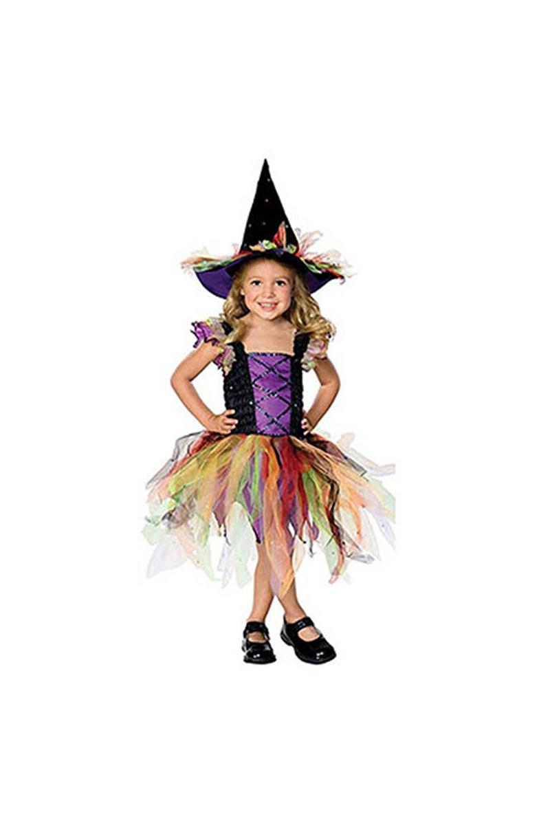 Renkli Cadı Kız Çocuk Kostümü 3-4 Yaş 1 Adet