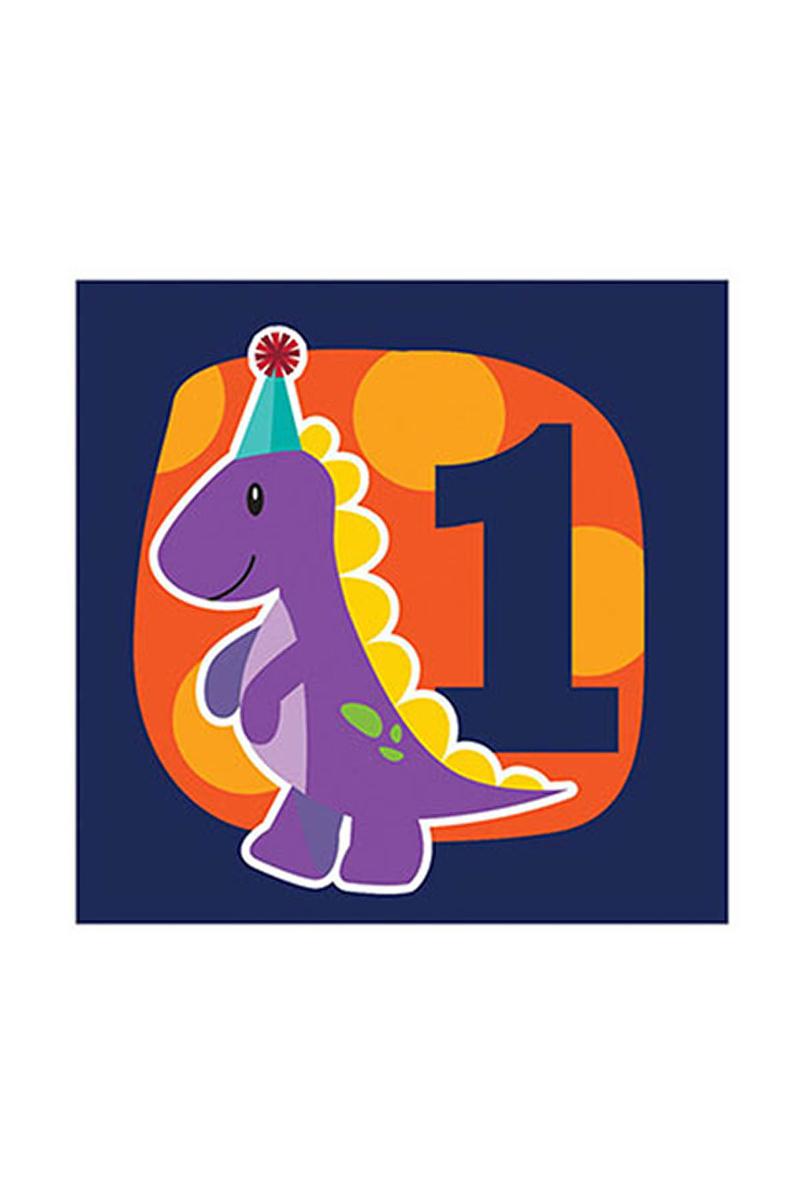 Renkli Dino 1 Yaş Kağıt Peçete 33x33cm 16lı