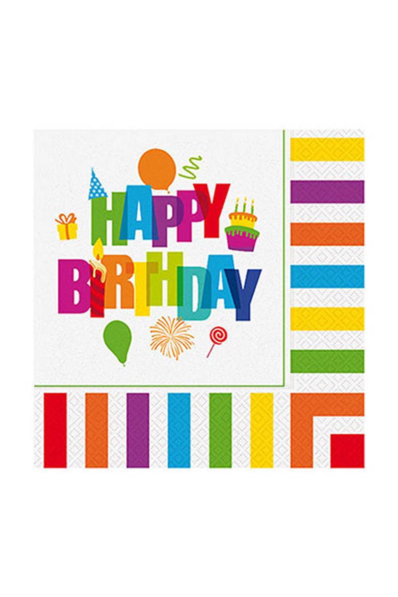 Roll-Up Renkli Doğum Günü Kağıt Peçete 33x33cm 20li