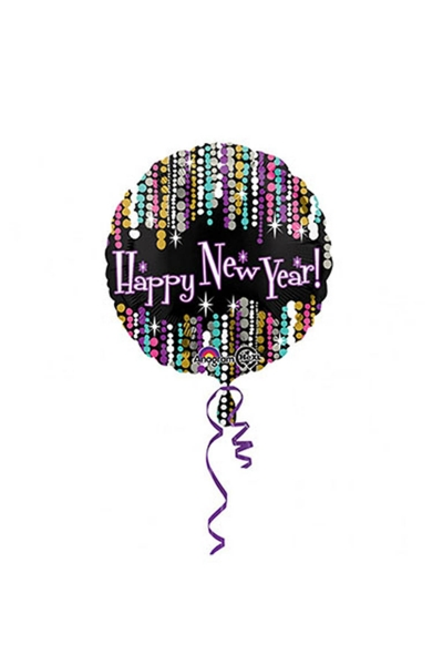 Renkli Happy New Year Folyo Balon 1 Adet