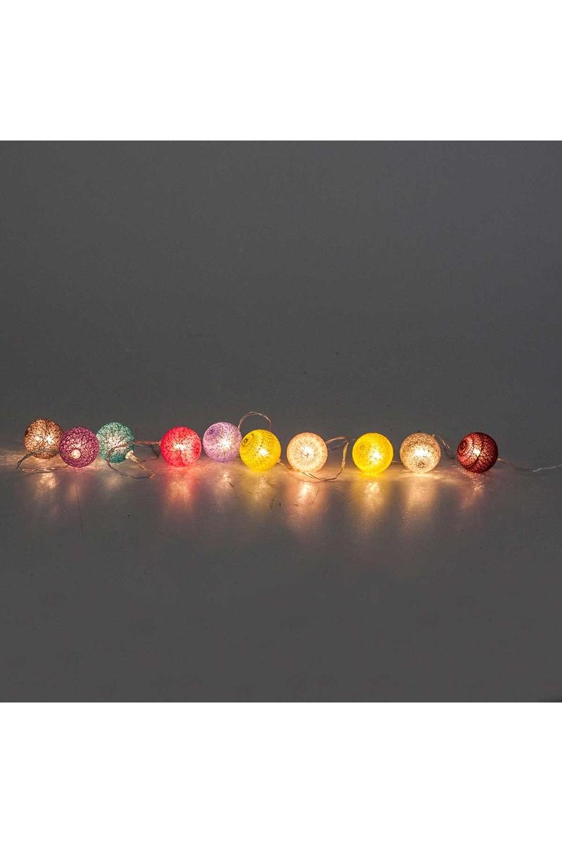 Renkli Toplar Pilli Led Işık 10 Lamba 2m 1 Adet