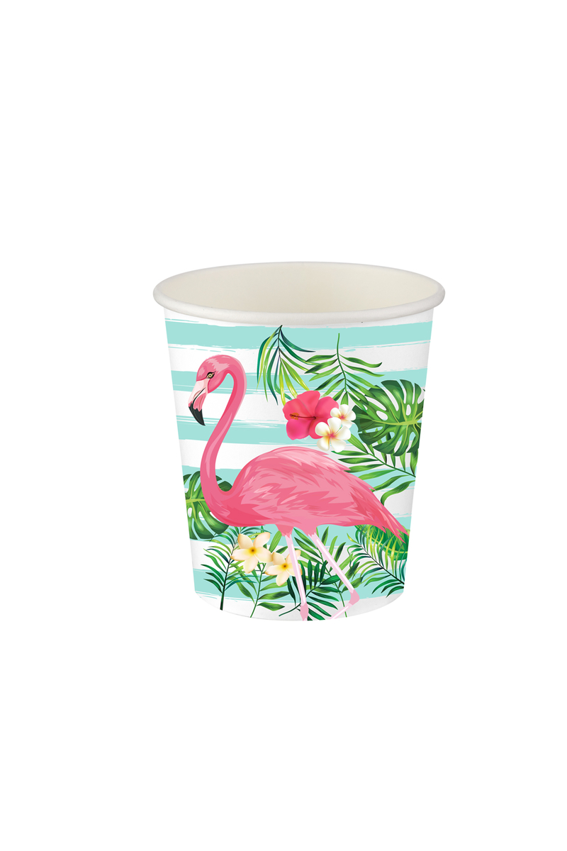 Roll-Up Flamingo Karton Bardak 200cc-8oz 8li