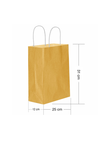 Roll-Up Kraft Çanta Altın Orta Boy 25x31cm 25li
