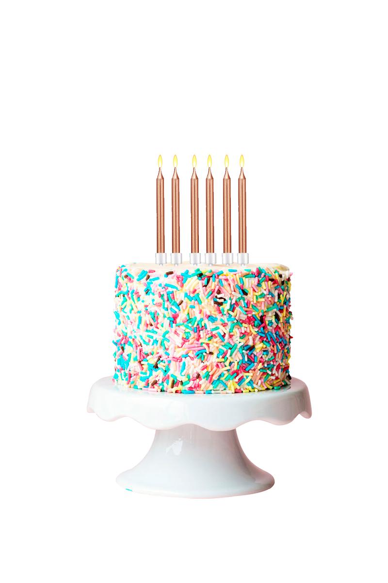 Rose Gold Doğum Günü Mumu ve Altlık Set 12cm 6lı - Thumbnail