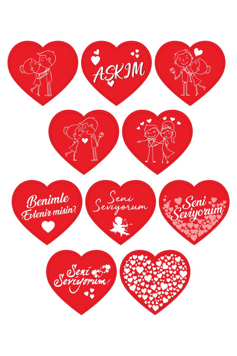 Seni Seviyorum Aşk Simgeleri Kalp Sticker 5 x 5cm 10 lu