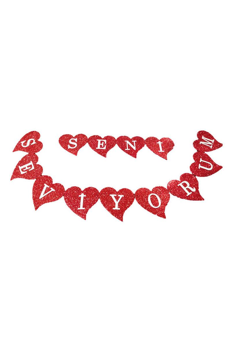 Seni Seviyorum Eva Bayrak Afiş Kalpli 1 Adet