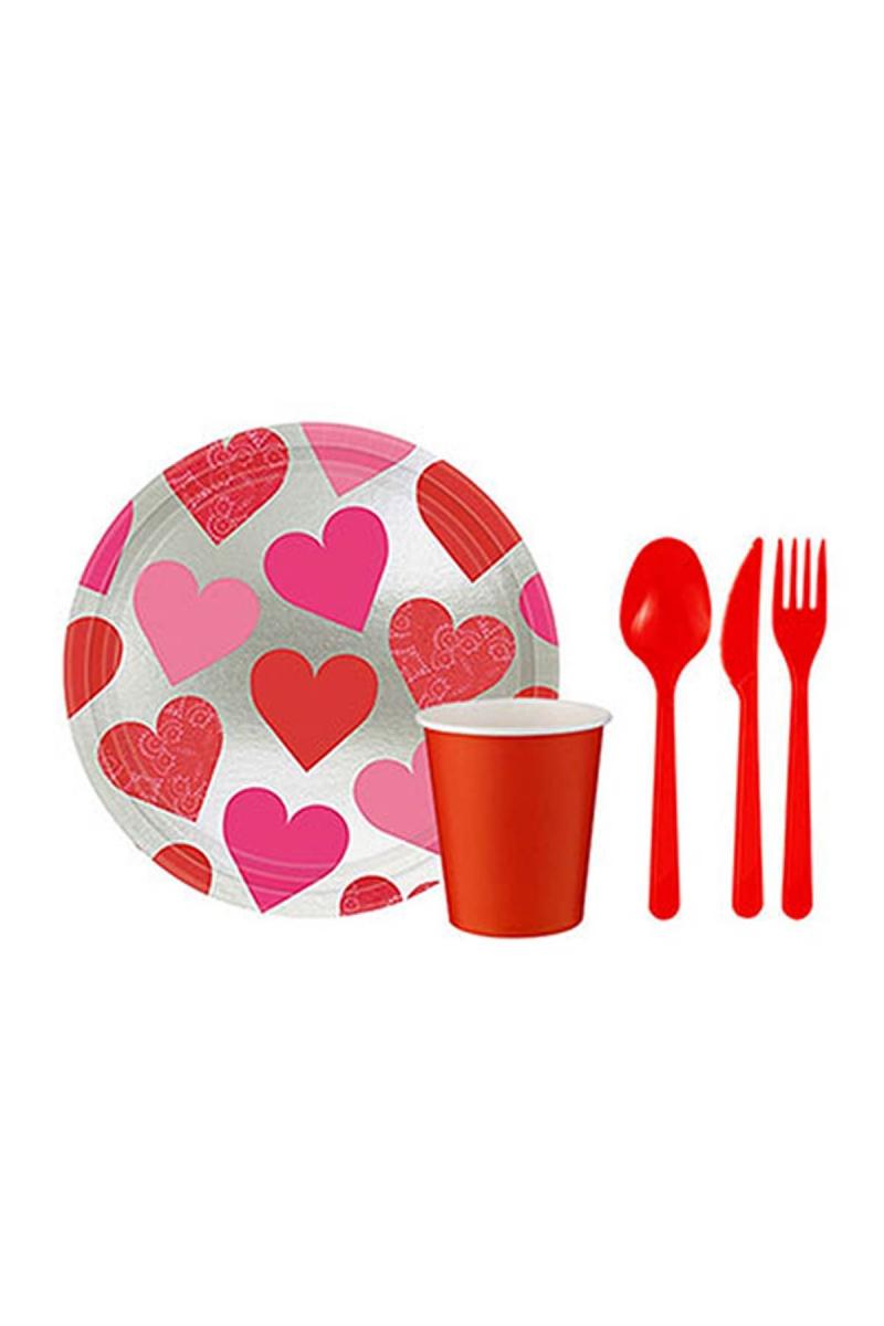 Sevgililer Günü Kalpler Parti Seti 91 Parça 8 Kişilik