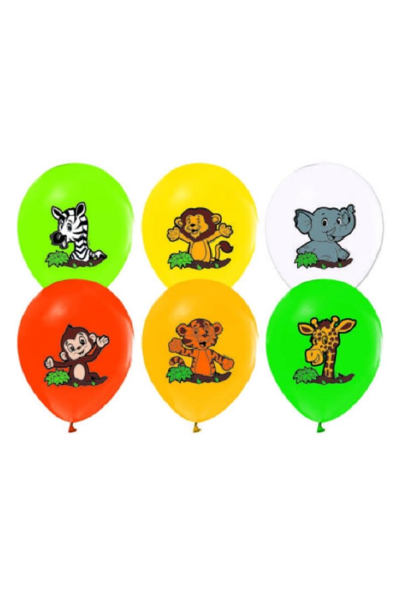 Sevimli Hayvanlar Baskılı Renkli Lateks Balon 30cm (12inch) 10lu