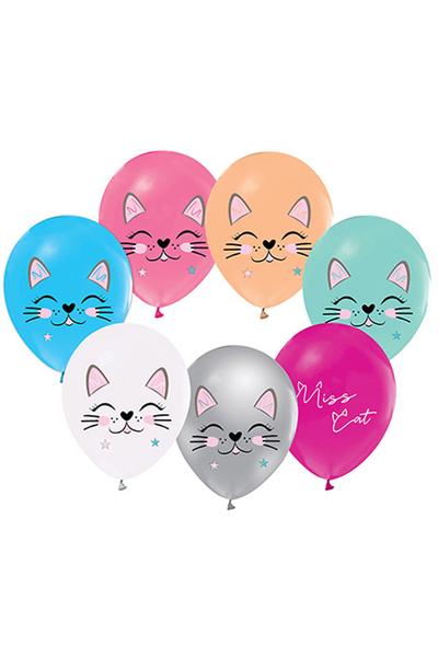 Sevimli Kedi Baskılı Renkli Lateks Balon 12inch 10lu