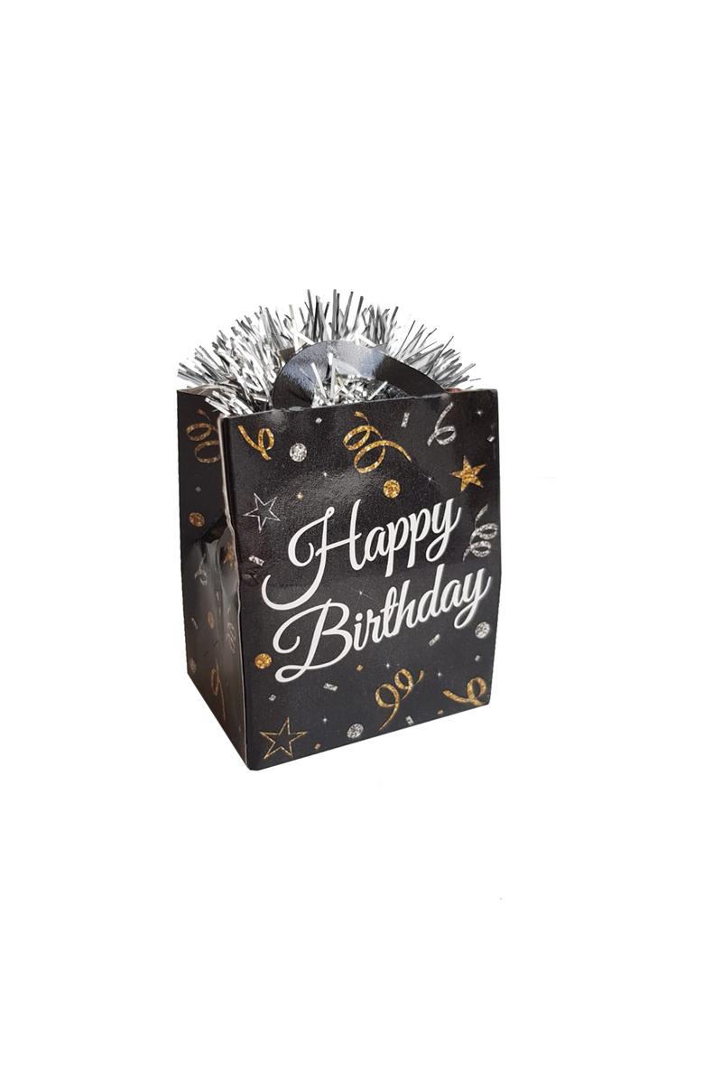 Siyah Happy Birthday Çanta Şekilli Folyo Balon Ağırlığı 1 Adet