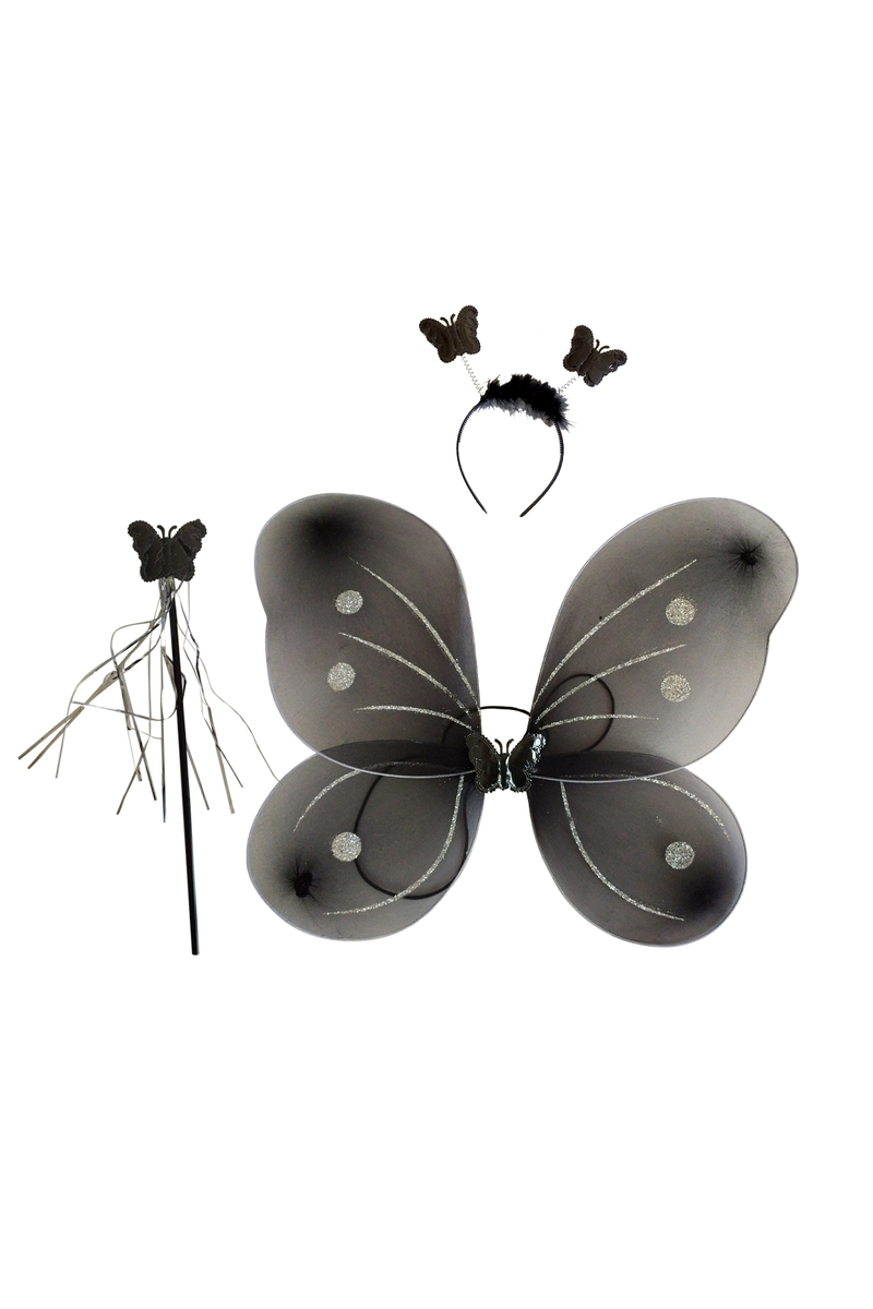 Siyah Kelebek Kanat-Taç-Asa Set 3lü