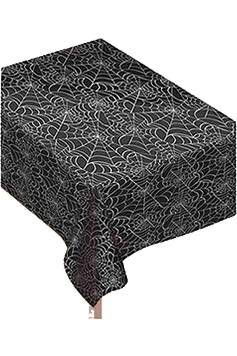 Siyah Örümcek Ağı Plastik Masa Örtüsü 120x180cm 1 Adet