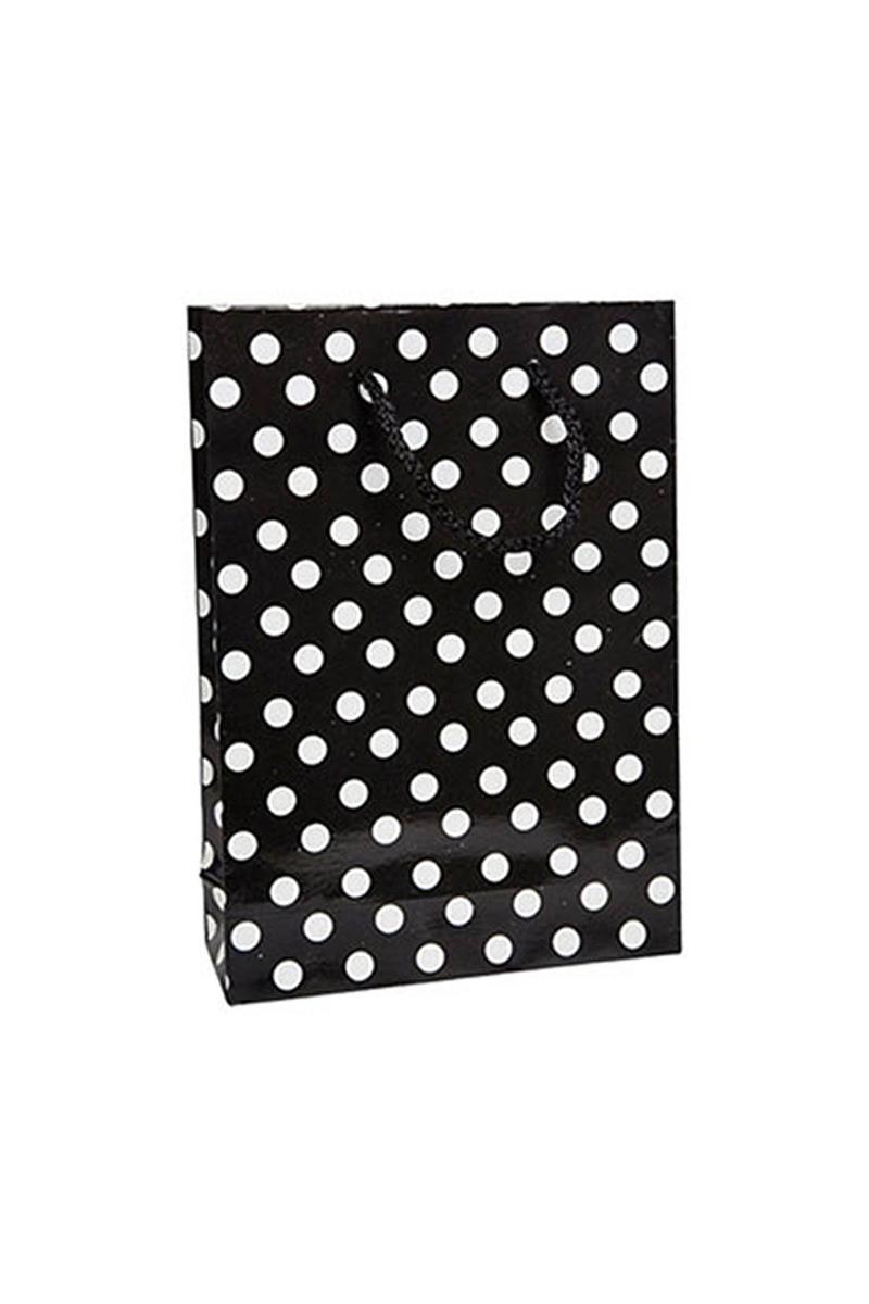 Siyah Puantiyeli Karton Çanta 17x25cm 25li