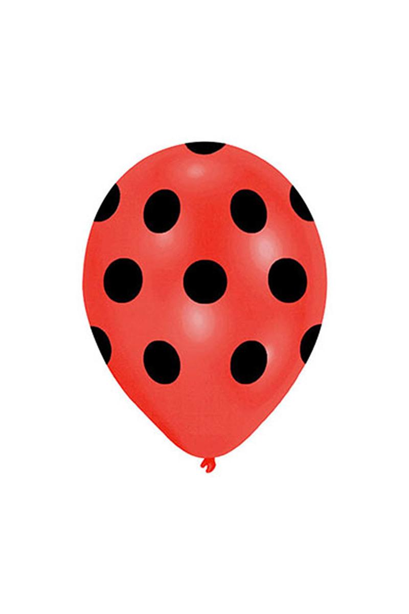 Siyah Puantiyeli Kırmızı Balon 30cm (12inch) 10lu