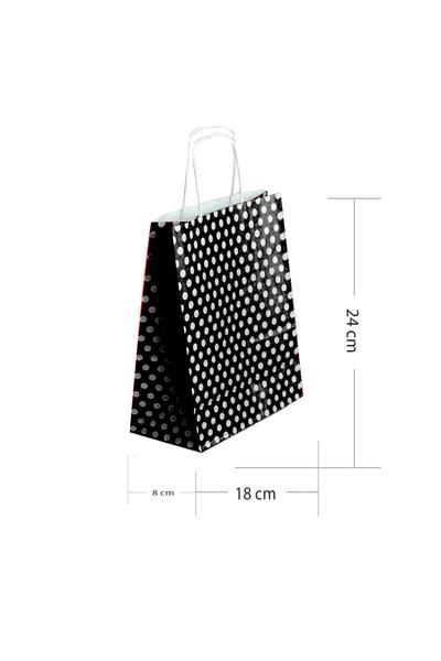Kraft Çanta Siyah Puantiyeli Küçük 25li