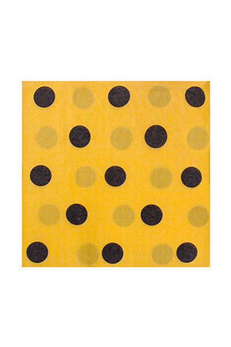 Siyah Puantiyeli Sarı Peçete 20li
