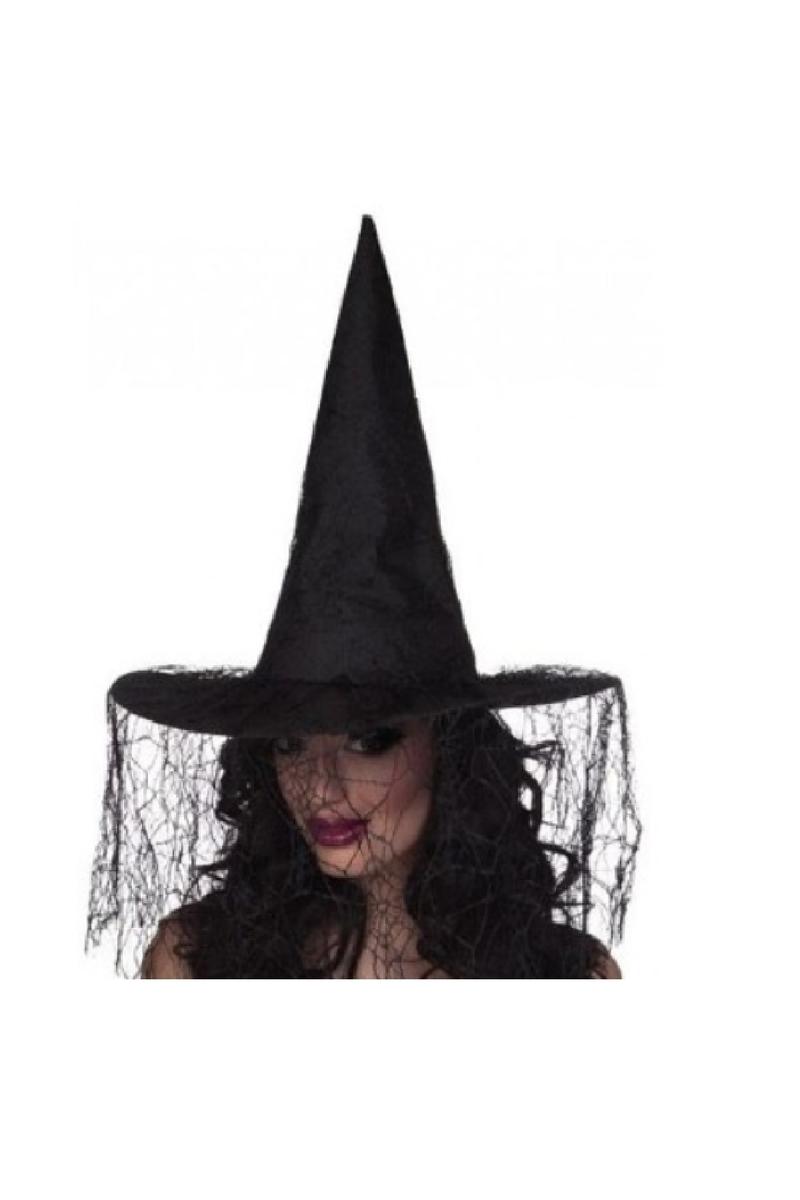 Siyah Tüllü Cadı Şapkası 1 Adet