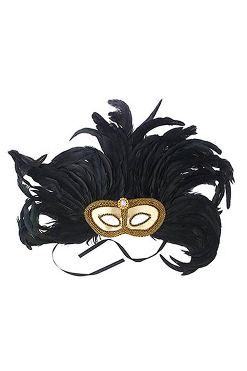 Siyah Uzun Tüylü Balo Maskesi 1 Adet