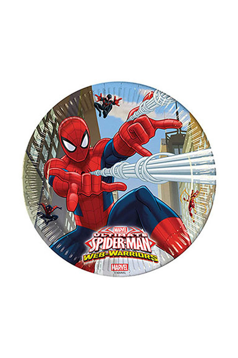 Spiderman Savaşçı Kağıt Tabak 23cm 8li