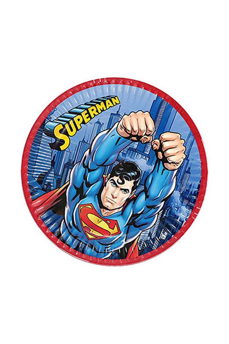 Superman Kağıt Tabak 23cm 8li