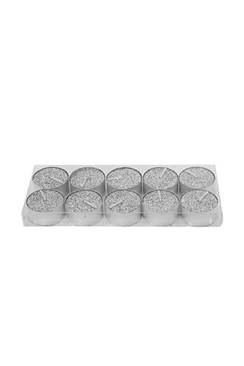 Tealight Mum Gümüş 4cm 10lu - Thumbnail