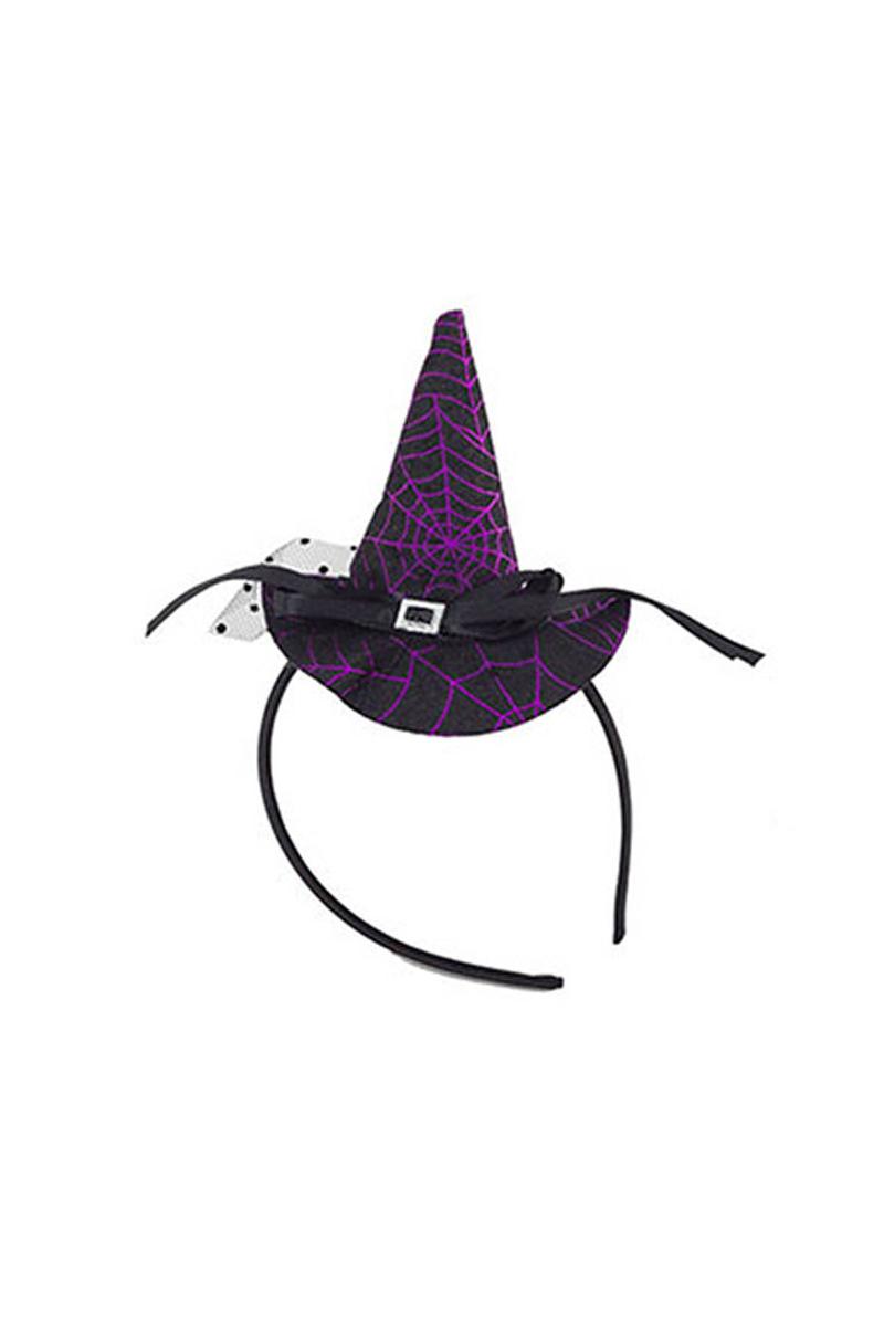 Tüllü Hallowen Şapkalı Taç Mor 1 Adet