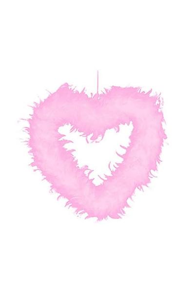 Tüy Kalp Pembe 44cm 1 Adet