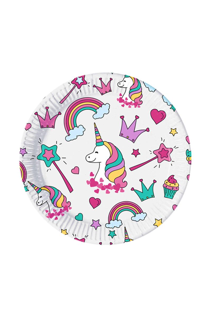 Unicorn Party Kağıt Tabak 23cm 8li