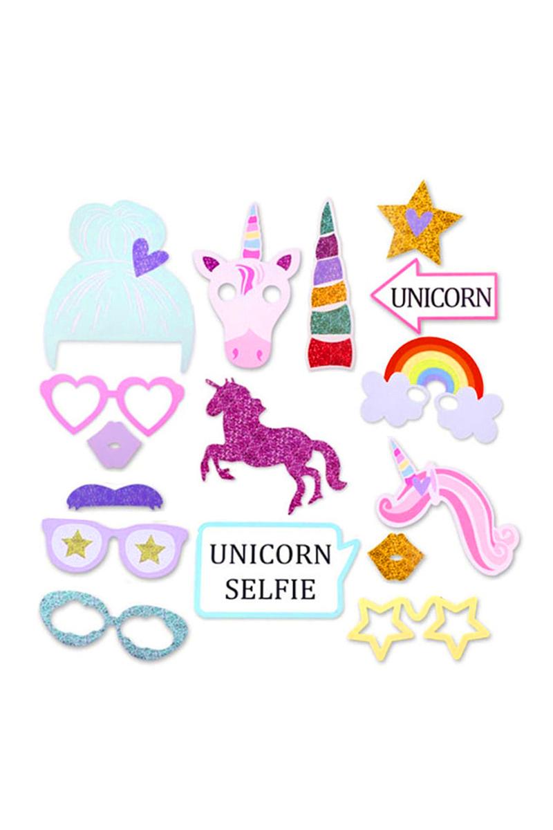 Unicorn Selfie Fotoğraf Çekme Çubukları 16 Parça