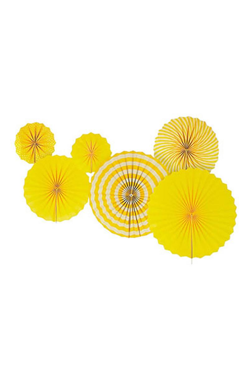 Yelpaze Süs Seti Sarı 6lı
