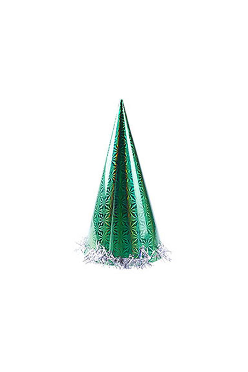 Yeşil Holografik Büyük Yılbaşı Şapkası 1 Adet