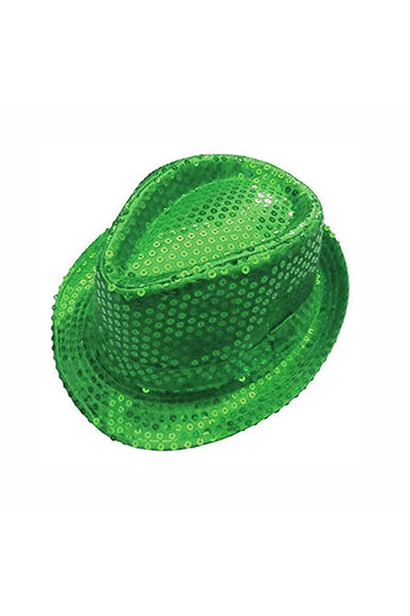 Yeşil Payetli Fötr Şapka 1 Adet