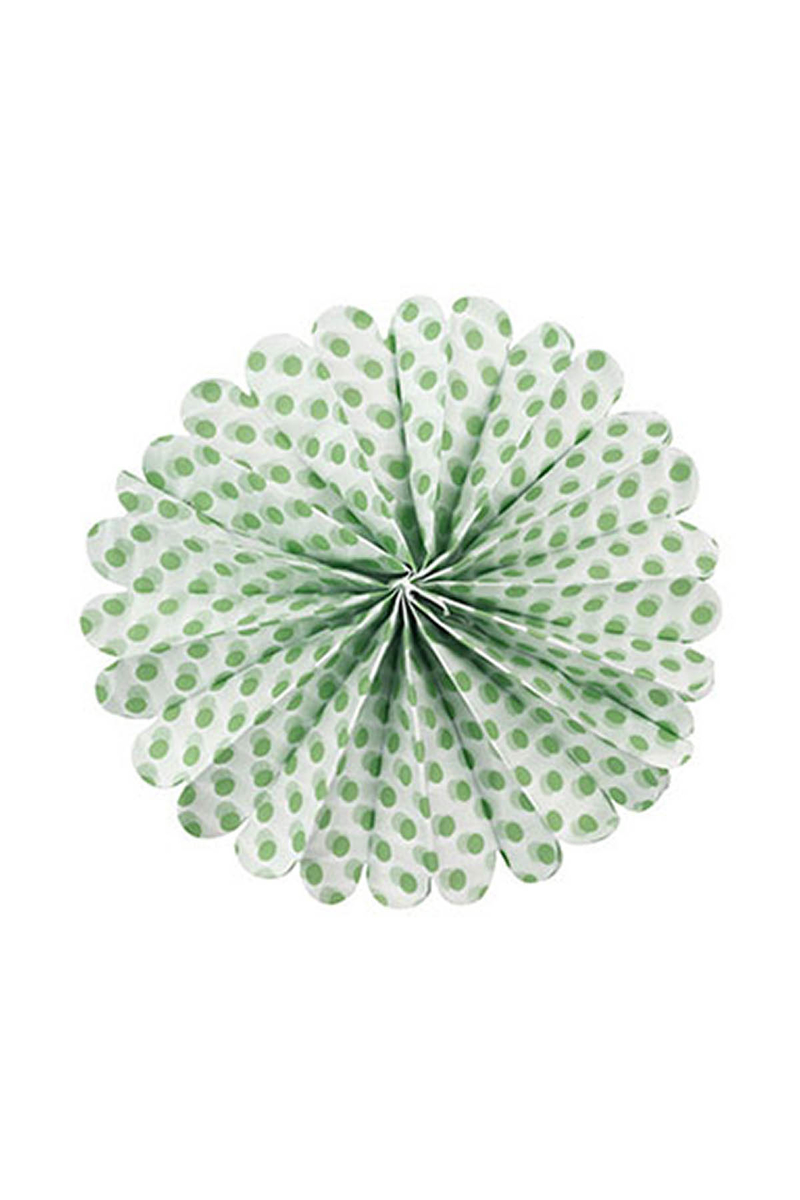 Yeşil Puantiyeli Ponpon Süs 40cm 1 Adet