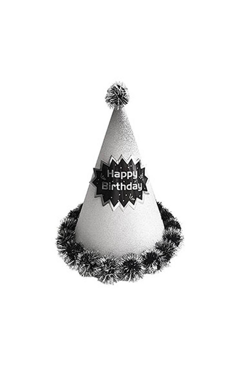 Yetişkin Külah Şapka Ponponlu Gümüş 1 Adet
