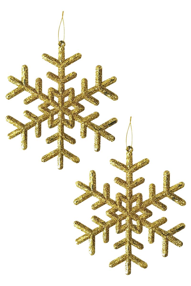 Yılbaşı Ağacı Kar Tanesi Asma Süs 12cm 4 lü Altın