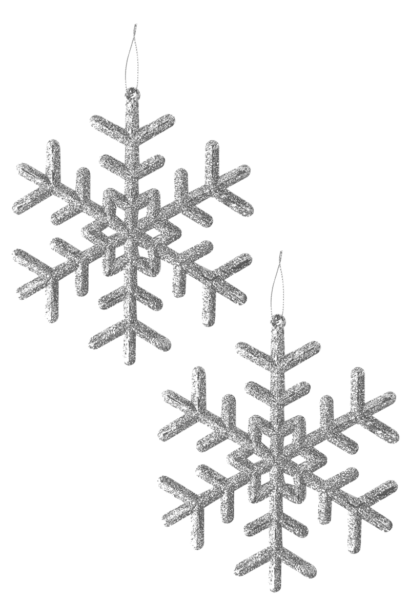 Yılbaşı Ağacı Kar Tanesi Asma Süs 12cm 4 lü Gümüş