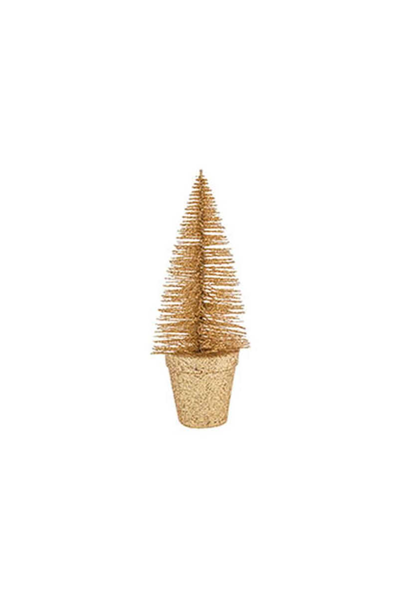 Altın Simli Çam Masa Süsü 18cm 1 Adet