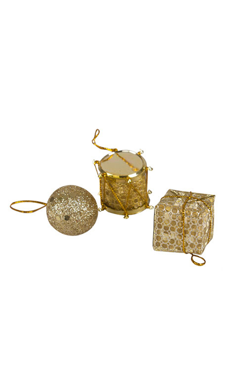 Yılbaşı Altın Çam Ağacı Süs Seti 3cm 13lü - Thumbnail