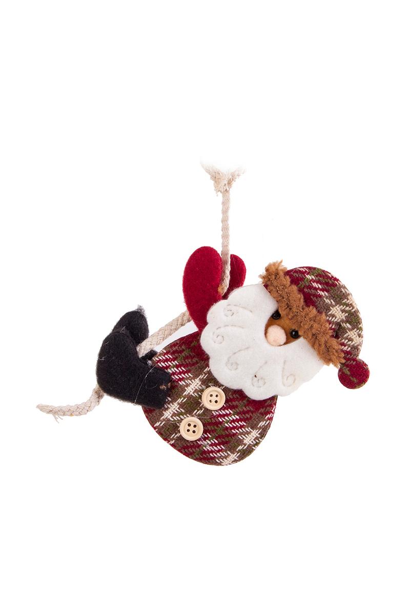 Yılbaşı Asılı Noel Baba Ekose Şapkalı Pelüş Asma Süs 12cm 1 Adet