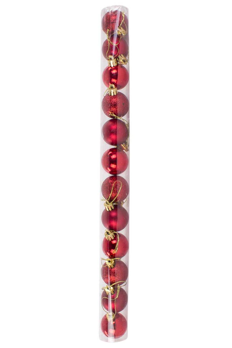 Yılbaşı Çam Ağacı Süsü Kırmızı 4cm 12li - Thumbnail