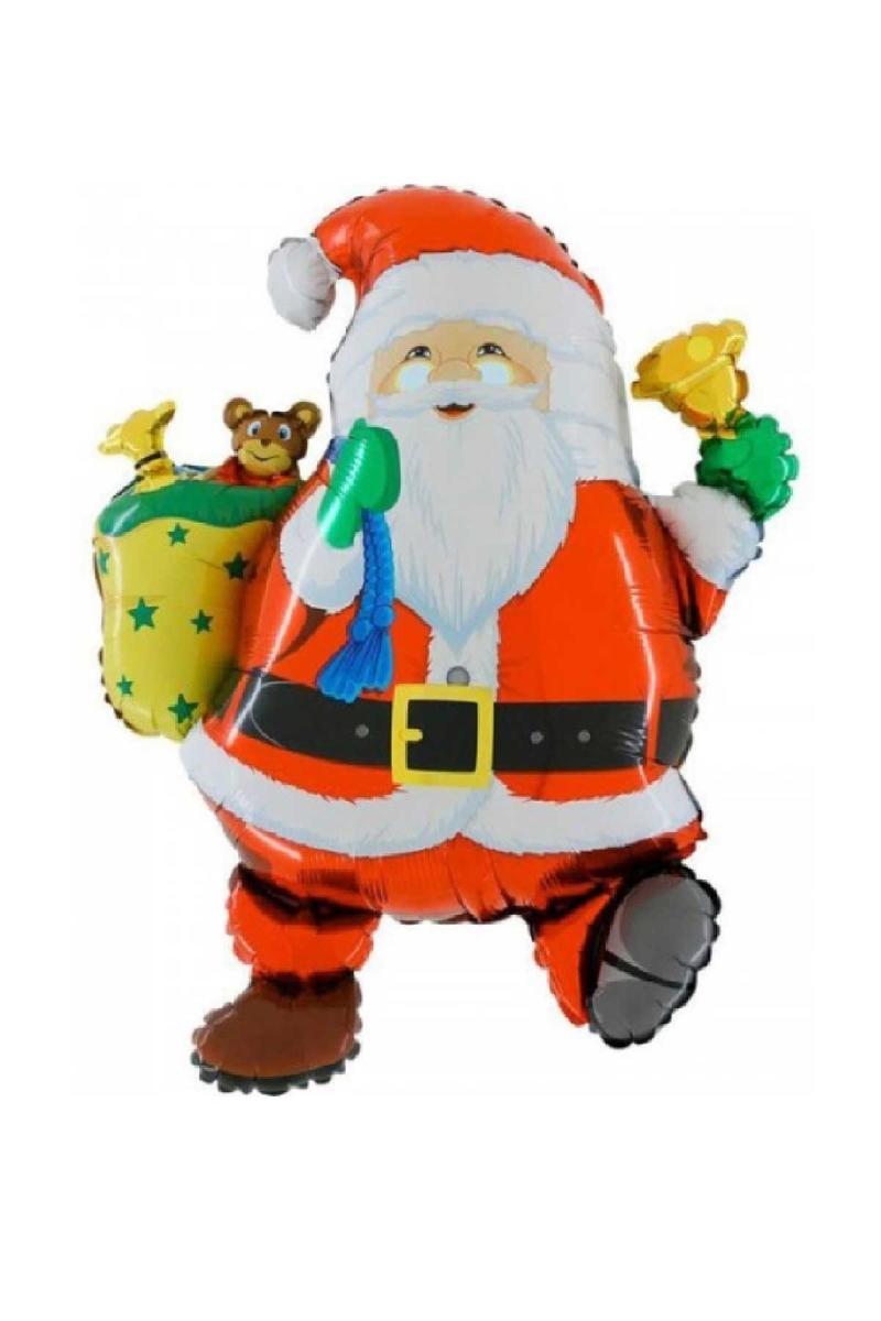 Yılbaşı Çan Çalan Noel Baba Şekilli Folyo Balon 78cm 1 Adet