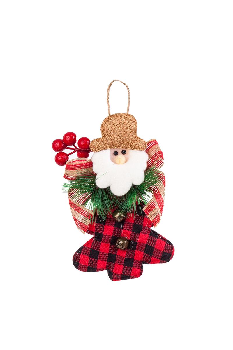 Yılbaşı Ekose Desenli Kokinalı Noel Baba Pelüş Asma Süs 17cm 1 Adet